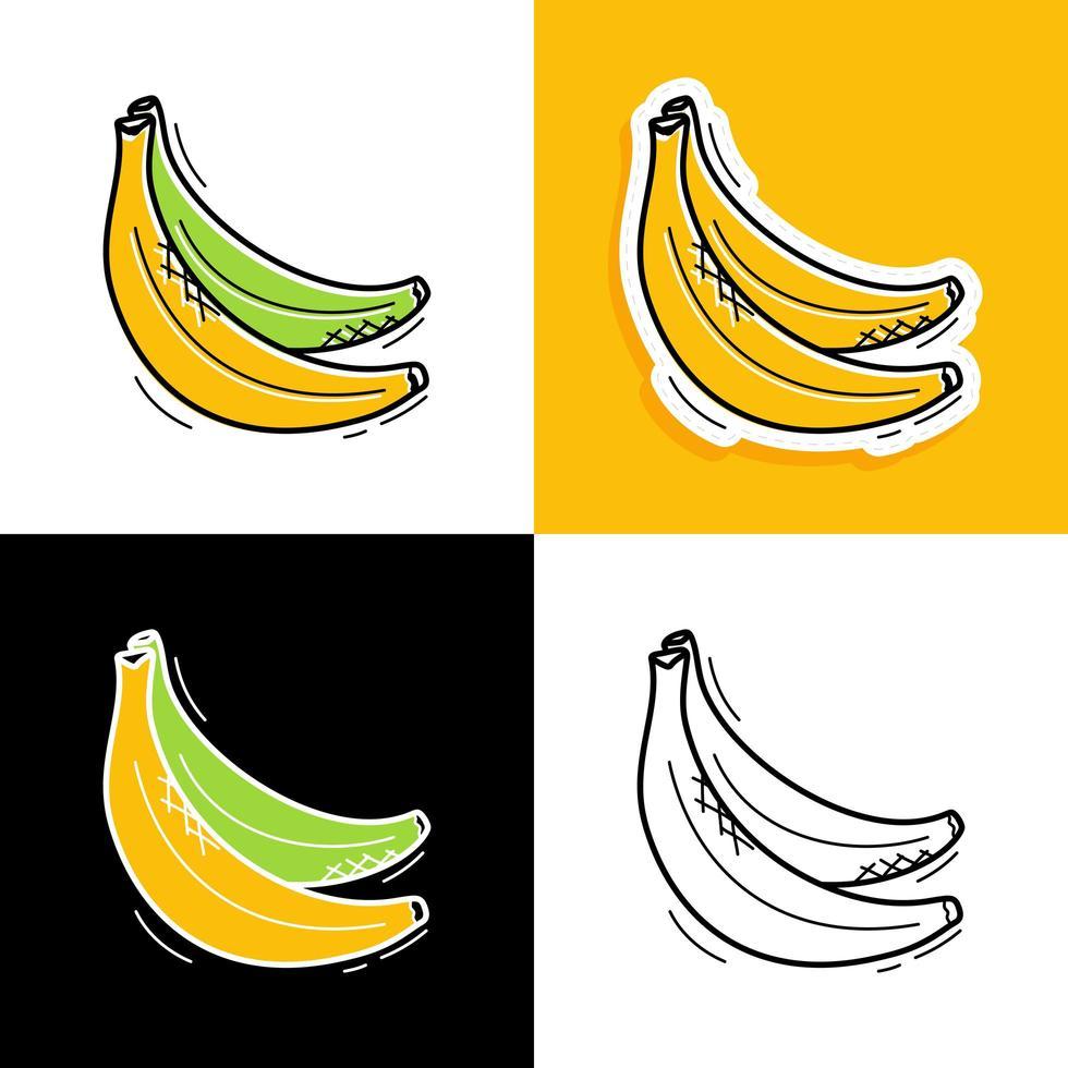 ensemble dessiné à la main de banane vecteur