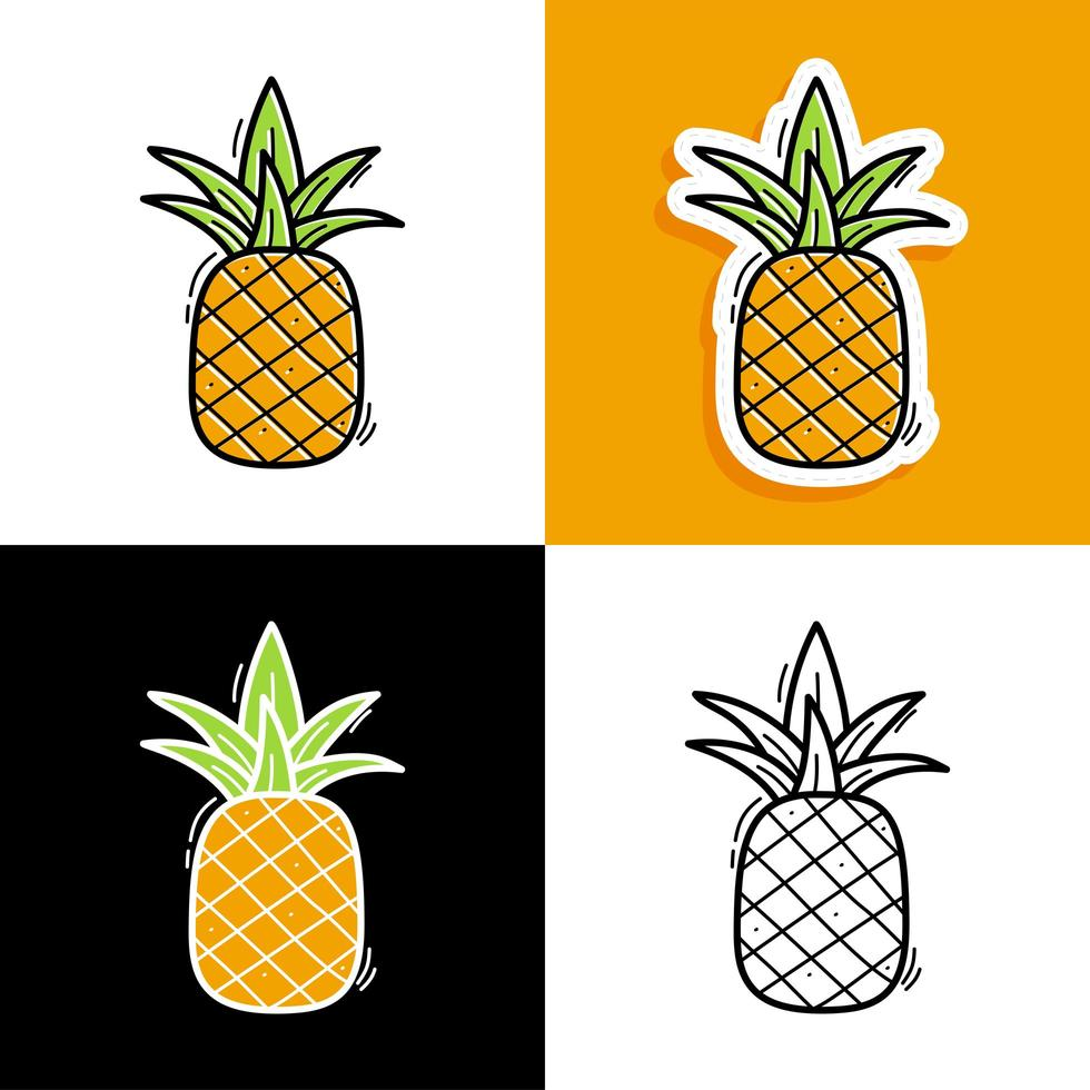 ensemble dessiné à la main d'ananas vecteur