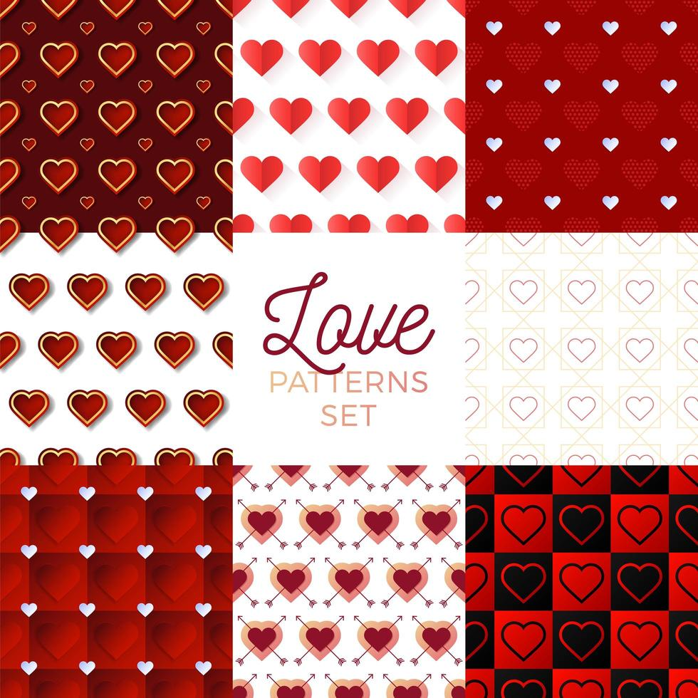 ensemble de motifs coeur saint valentin vecteur
