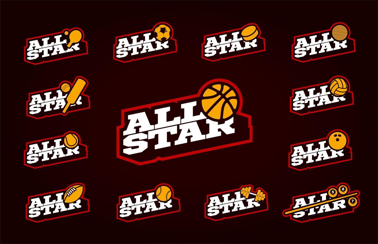 ensemble de sport toutes étoiles vecteur