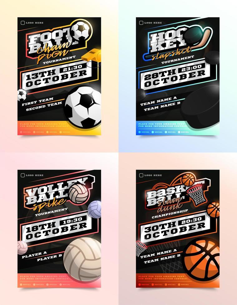 ensemble d'annonces de flyer de sport vecteur
