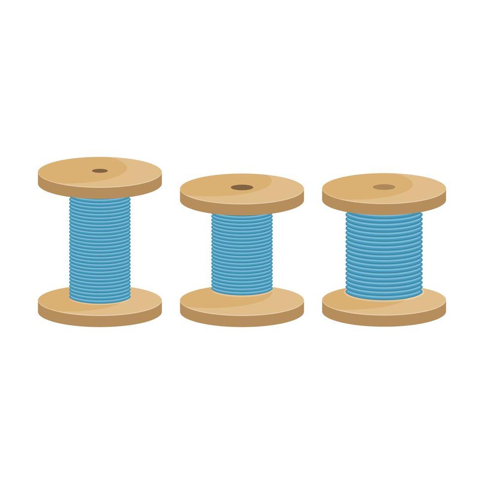 Illustration de conception de vecteur de bobine de fil isolé sur fond blanc