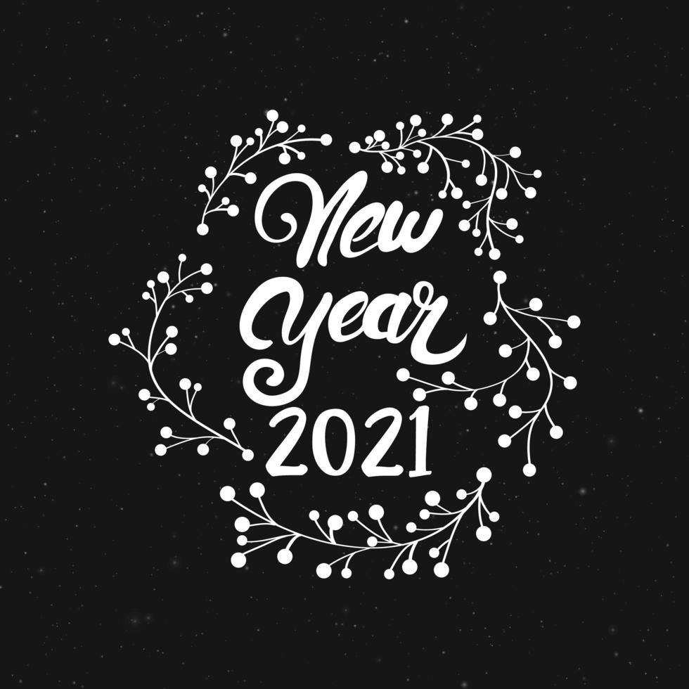 main dessiner la calligraphie du nouvel an et les ornements d'hiver vecteur