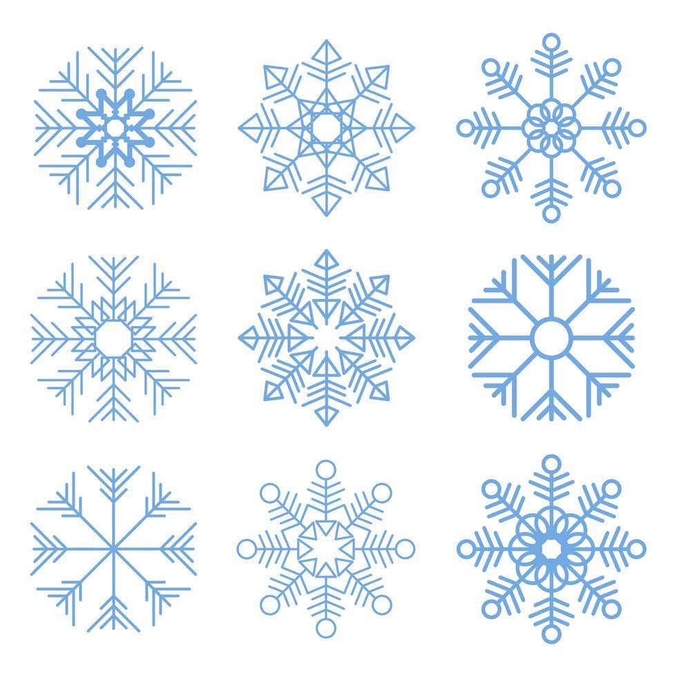 illustration de conception de vecteur de flocons de neige isolé sur fond blanc