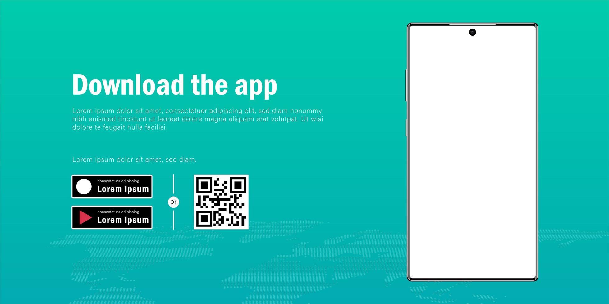 bannière web de maquette de smartphone mobile avec publicité pour télécharger le modèle d'application, de code qr et de boutons vecteur