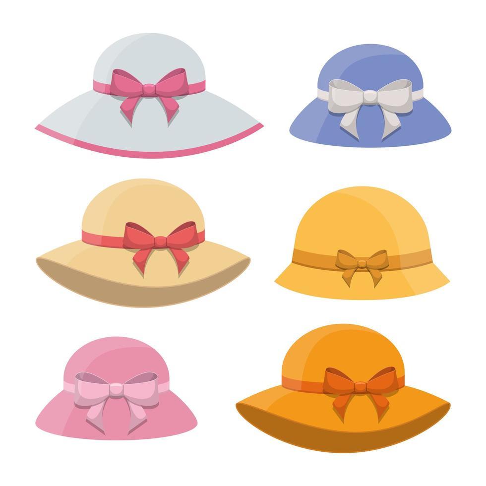 illustration de conception de vecteur de chapeau rétro femme isolée sur fond blanc