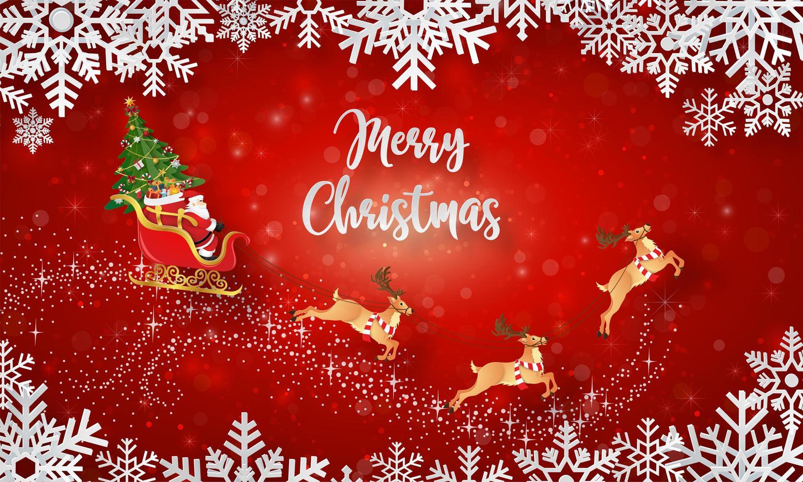 Père Noël sur un traîneau avec arbre de Noël sur bannière de carte postale de Noël vecteur