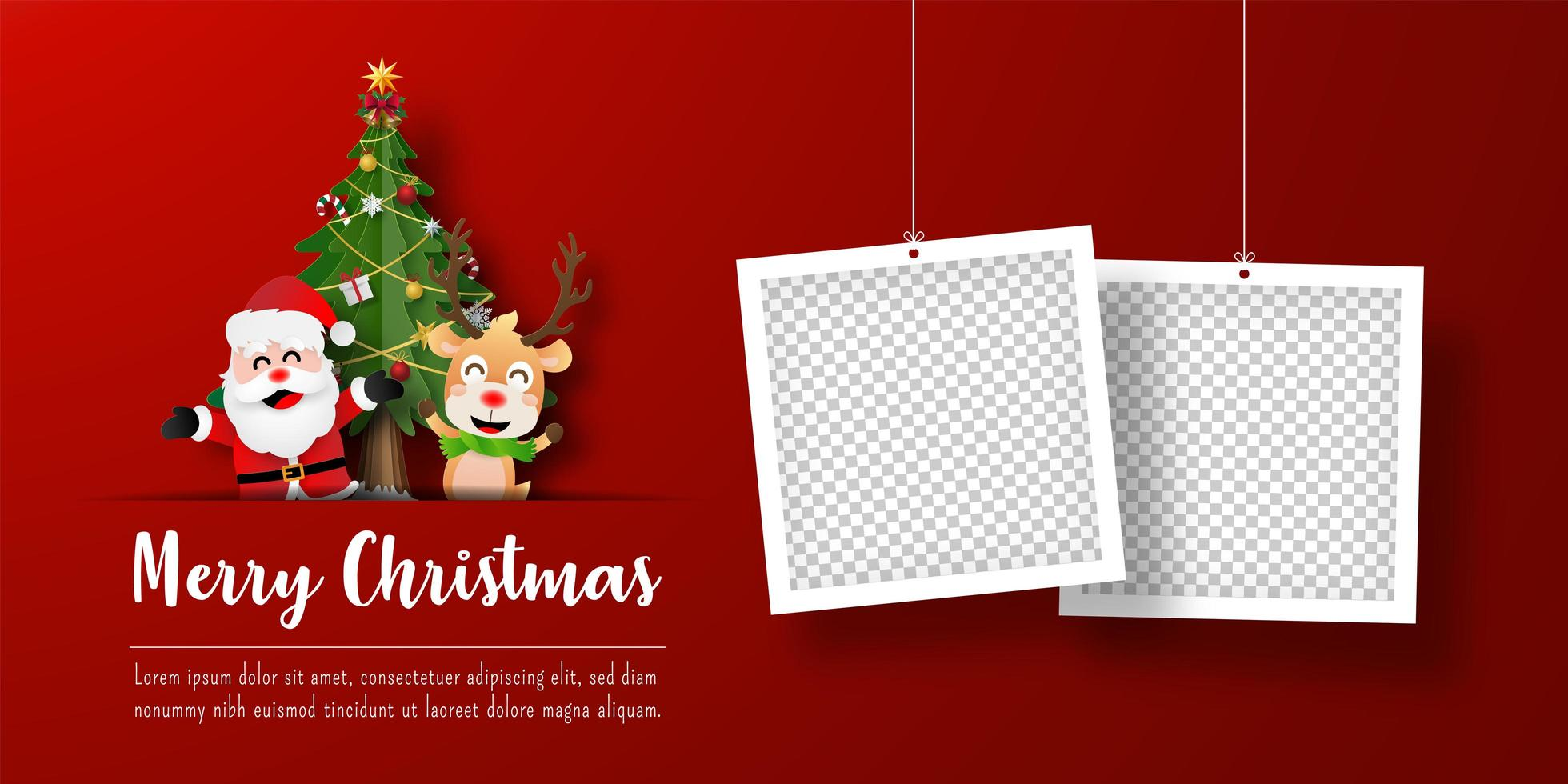 bannière de carte postale de Noël du père Noël et des rennes avec des cadres photo vecteur