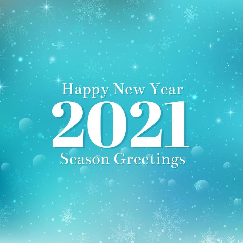 conception de texte bonne année 2021. illustration de voeux de vecteur avec des chiffres blancs et des flocons de neige. fond bleu hiver avec bokeh, lumières et flocons de neige