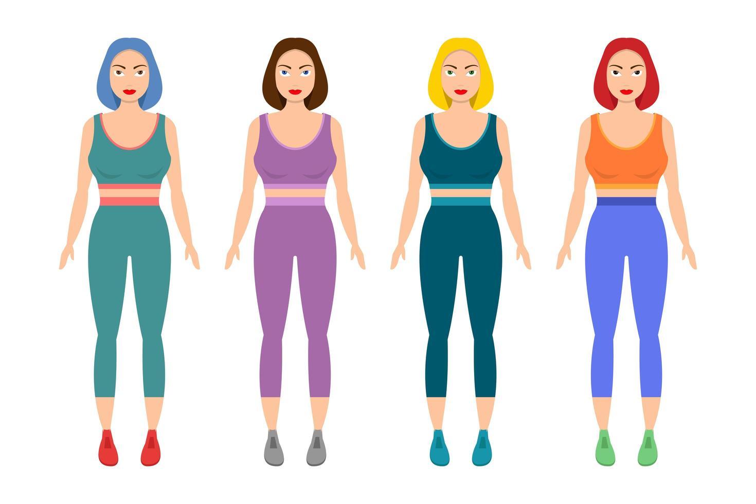 illustration de conception de vecteur de femmes sportives isolé sur fond blanc