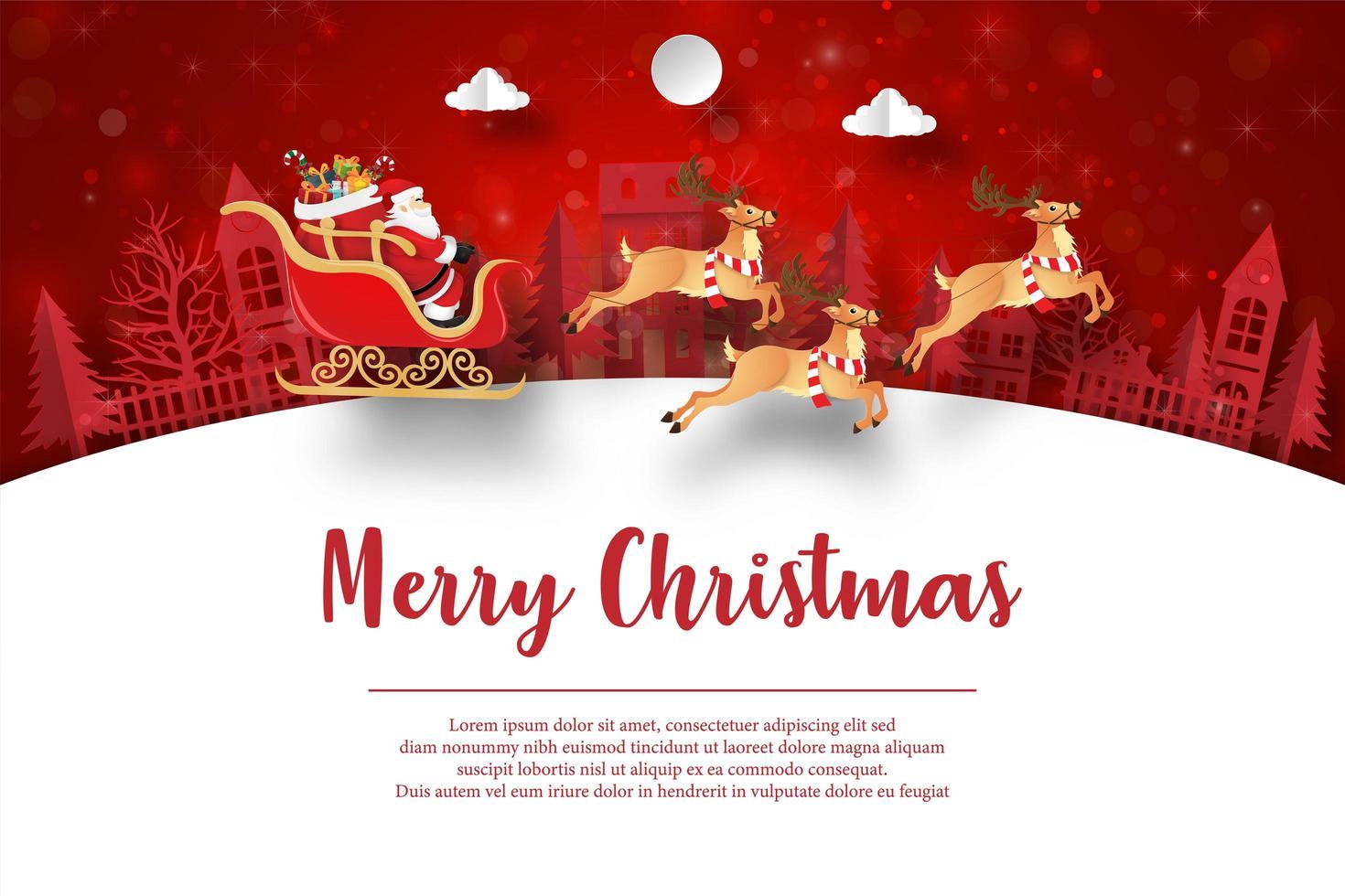 joyeux noël et bonne année, carte postale de noël du père noël dans le village vecteur
