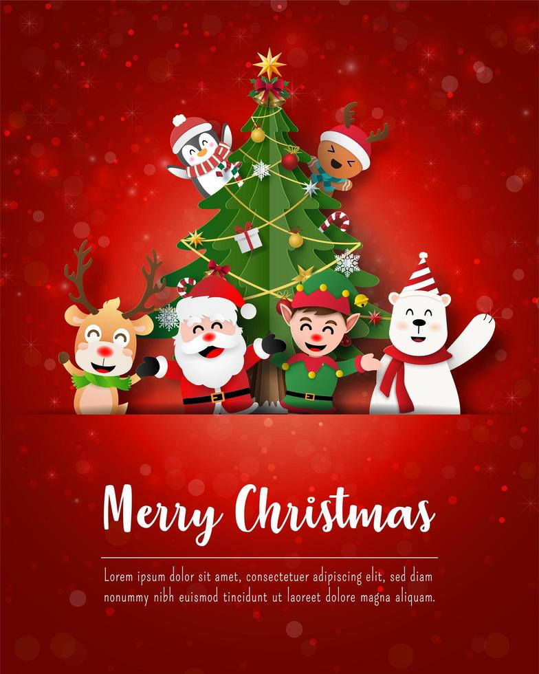 joyeux noël et bonne année, père noël et amis sur la carte postale de noël vecteur