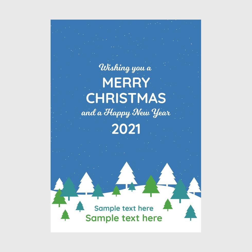 conception de cartes de joyeux Noël bleu. carte de voeux de Noël entreprise avec des arbres de Noël. vecteur