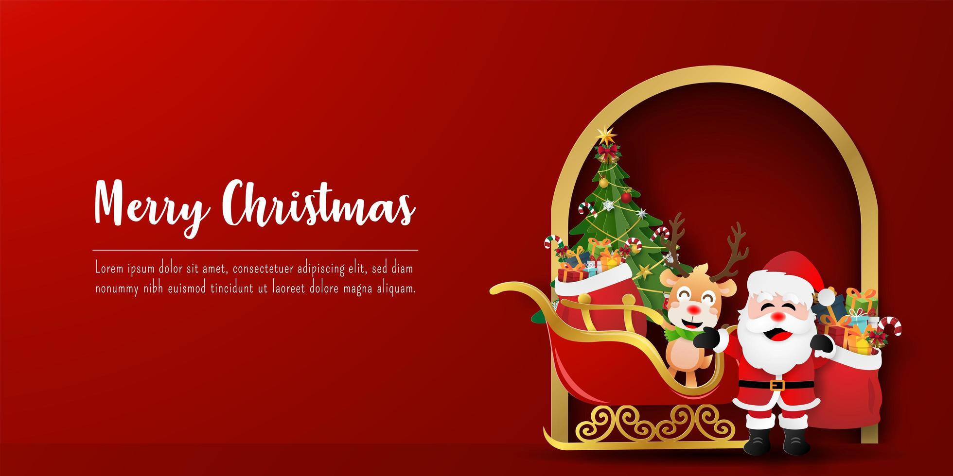 bannière de carte postale de Noël du père Noël et des rennes avec traîneau vecteur