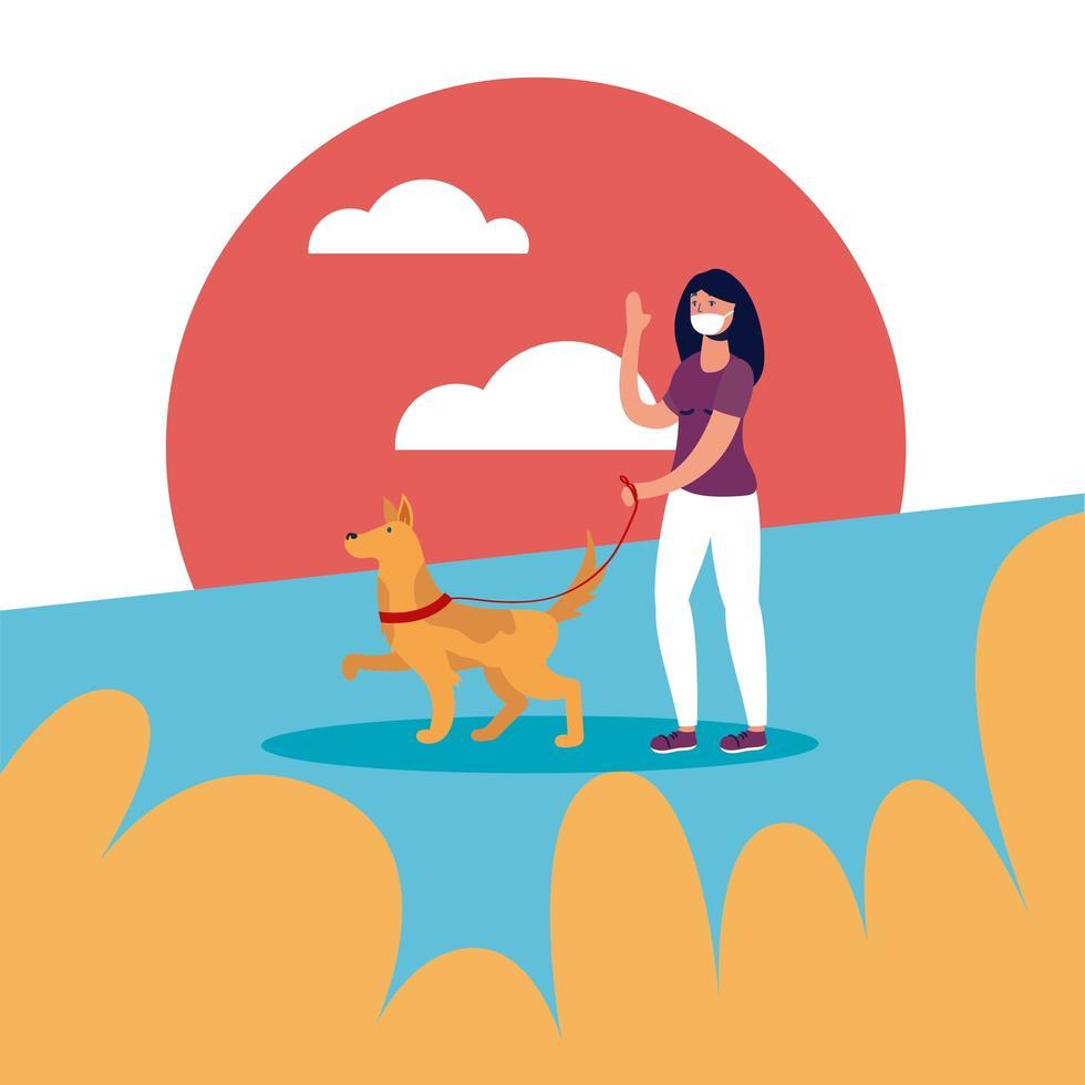 femme avec masque médical et chien à la conception de vecteur de parc