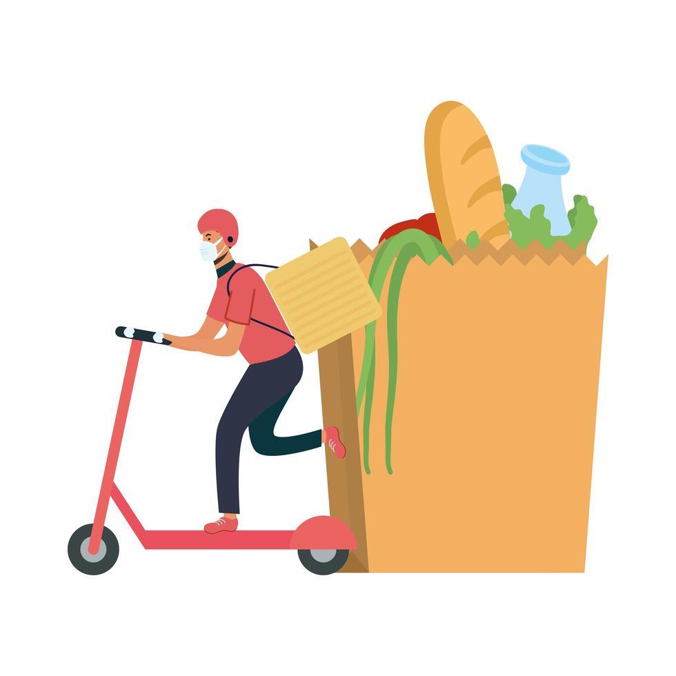 livreur avec masque scooter sac et conception de vecteur de boîte