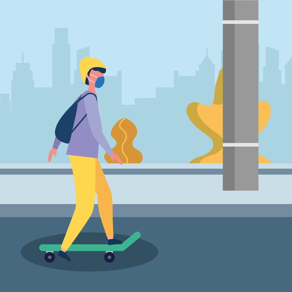 homme avec masque médical sur la conception de vecteur de skateboard