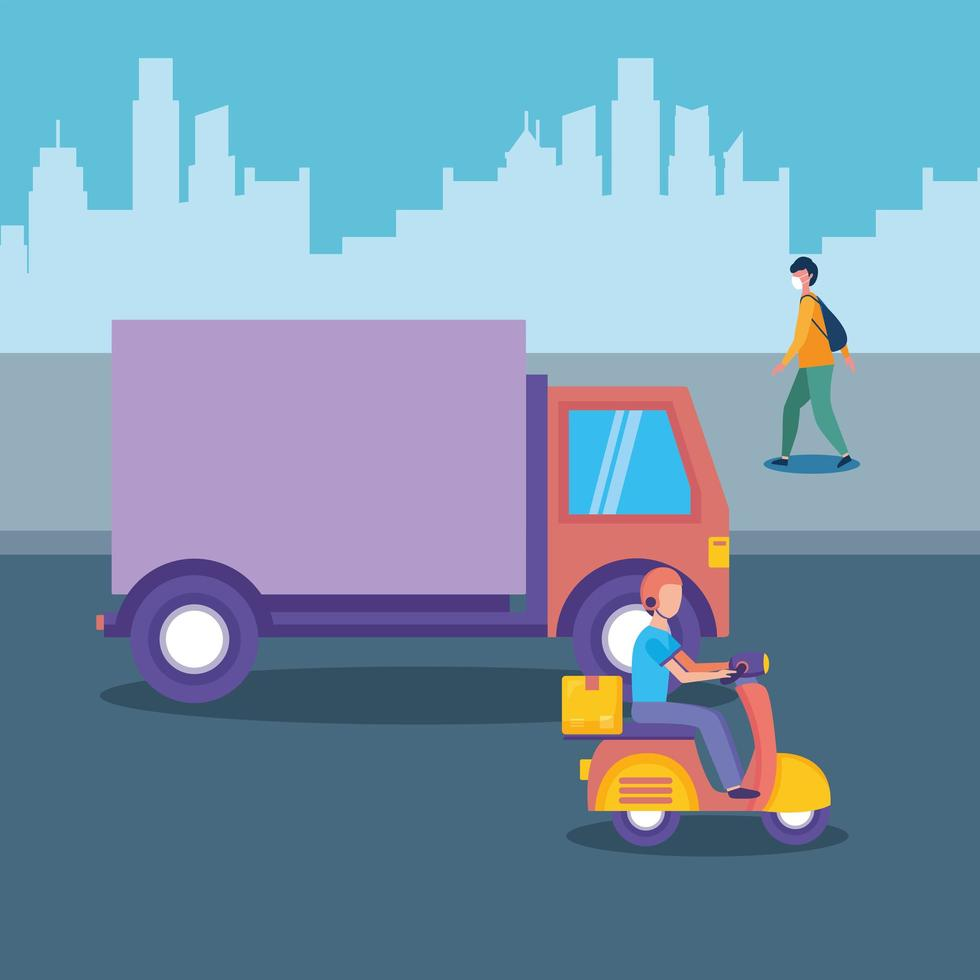 camion de livraison moto et homme avec masque à la conception de vecteur de ville