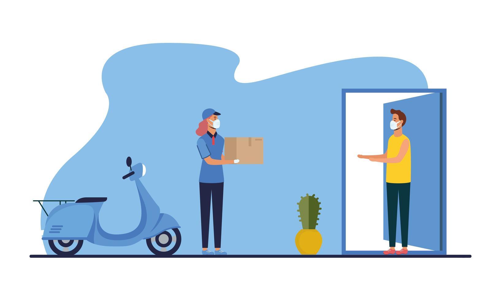 femme de livraison avec boîte de moto masque et conception de vecteur client homme