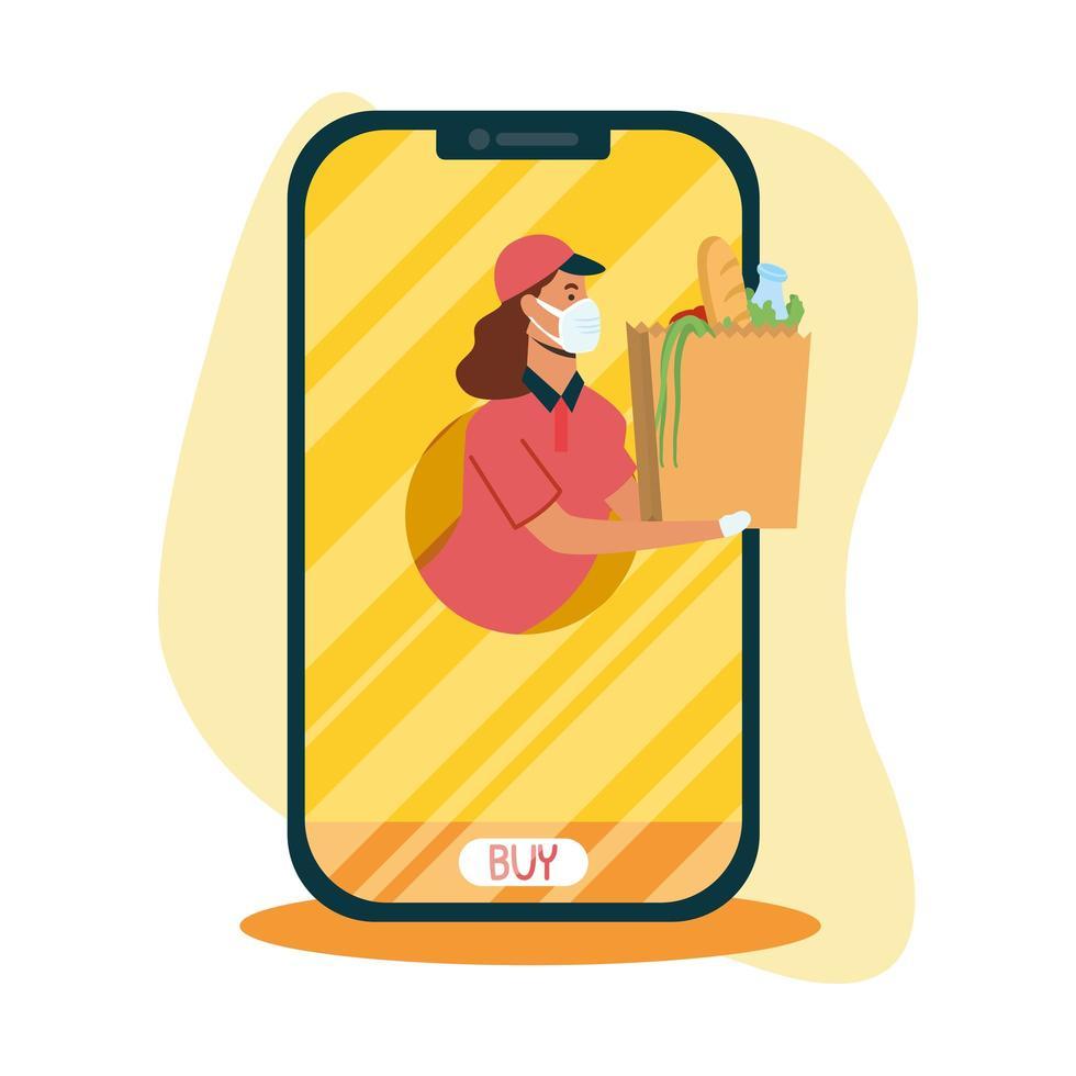 livraison femme avec masque et sac sur la conception de vecteur de smartphone