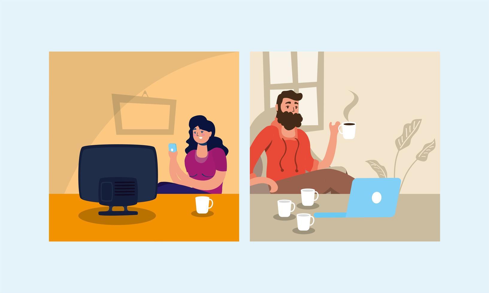 couple utilisant un ordinateur portable et regarder la télévision rester à la campagne vecteur