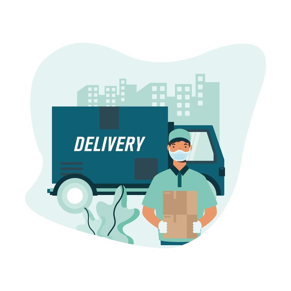 camion de livraison et homme avec conception de vecteur de boîte