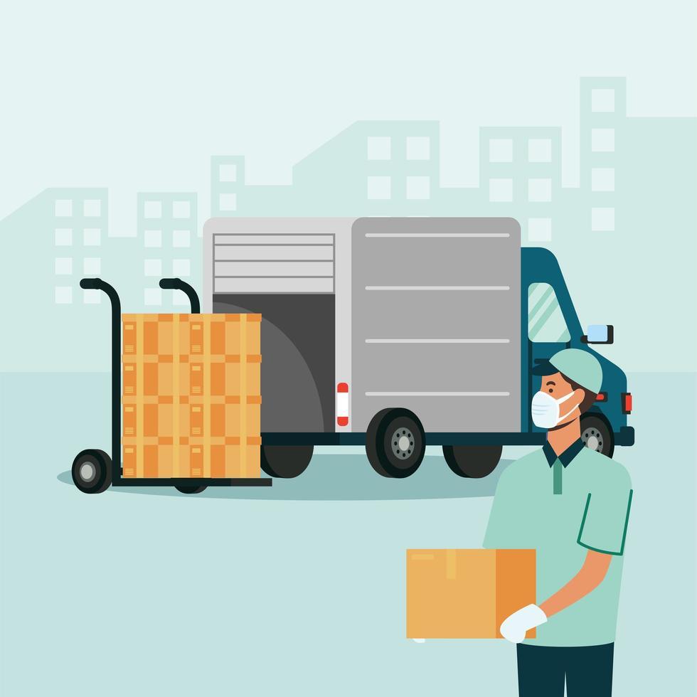 camion de livraison et homme avec des boîtes sur la conception de vecteur de chariot