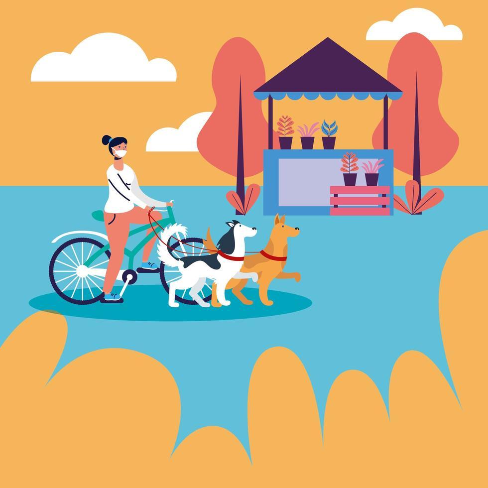 femme, équitation, vélo, à, masque médical, et, chiens, à, parc, vecteur, conception vecteur