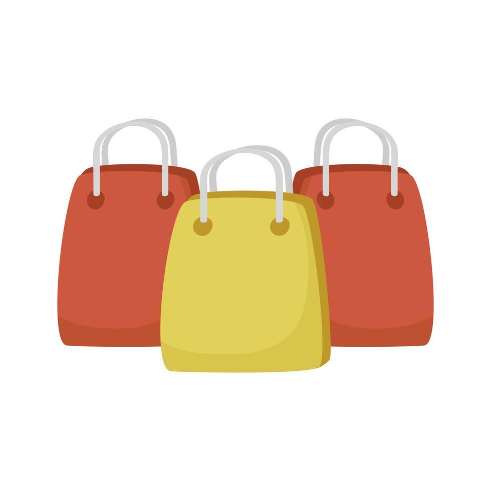 sacs à provisions manipulent des icônes isolées vecteur