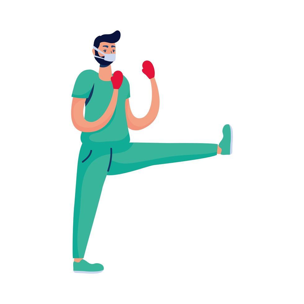 médecin professionnel boxe avec des gants vecteur