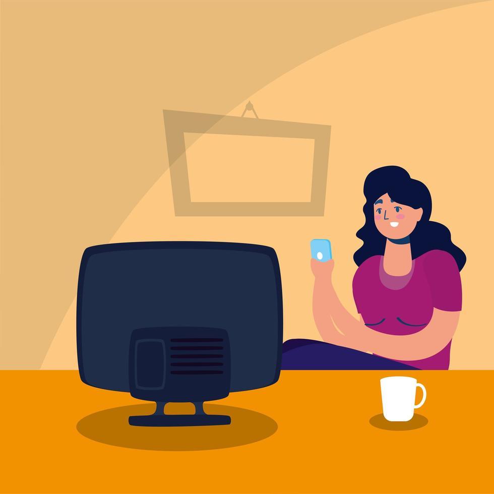 femme regardant la télévision rester à la campagne vecteur