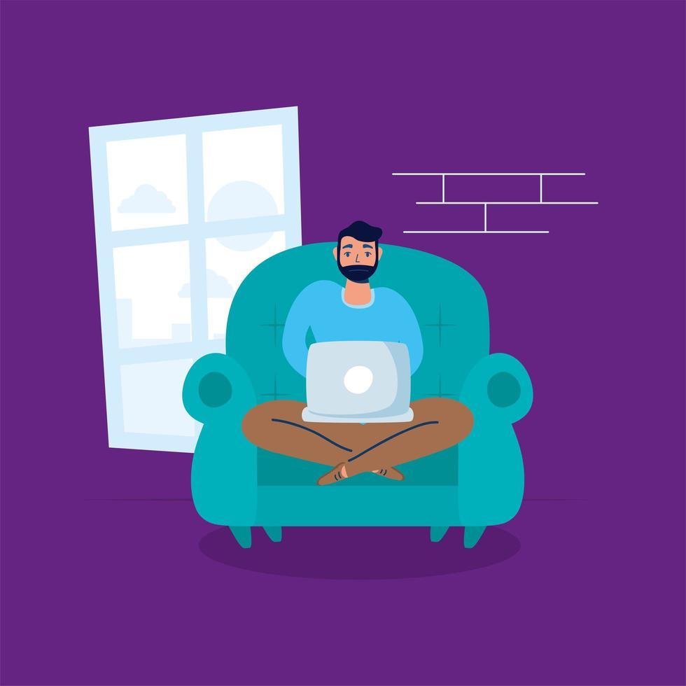 homme utilisant un ordinateur portable dans un canapé séjour à la campagne vecteur