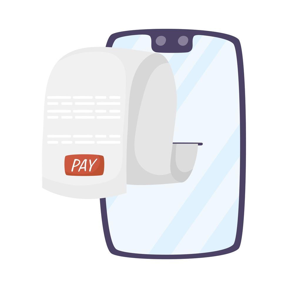 smartphone avec icône de paiement de reçu vecteur