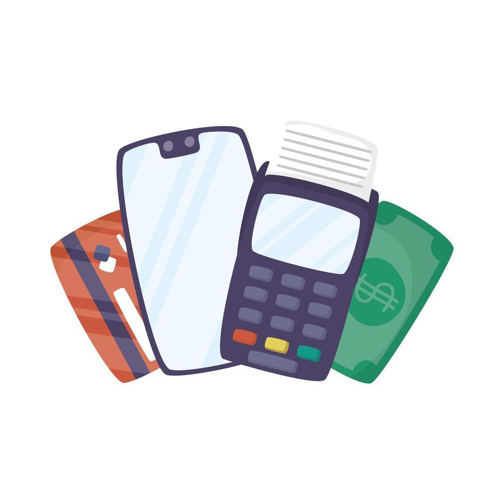 smartphone avec bon et carte de crédit vecteur