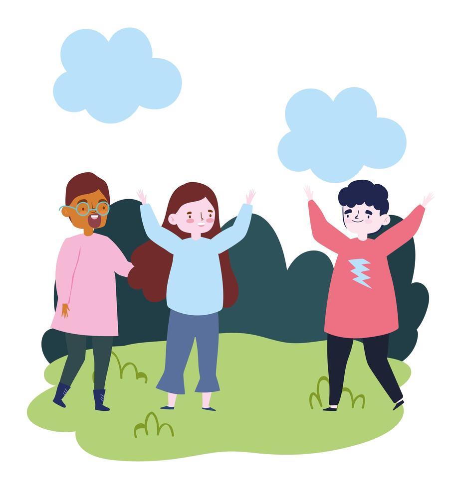 Groupe de personnes ensemble pour célébrer un événement spécial, jeunes hommes et femmes dans le parc célébrant vecteur