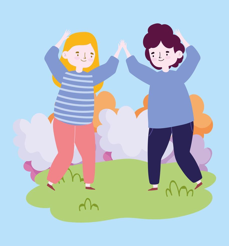 Groupe de personnes ensemble pour célébrer un événement spécial, homme et femme dansant célébrant dans le parc vecteur