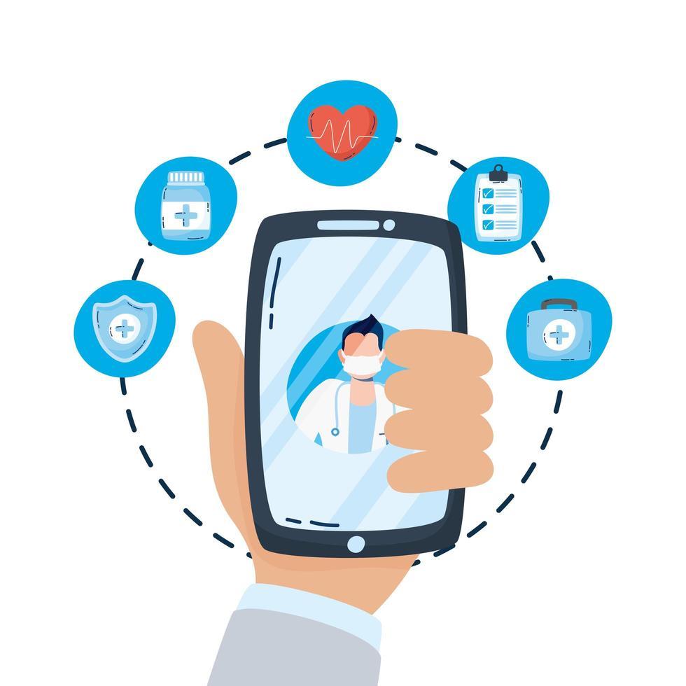 médecin professionnel avec stéthoscope sur smartphone vecteur
