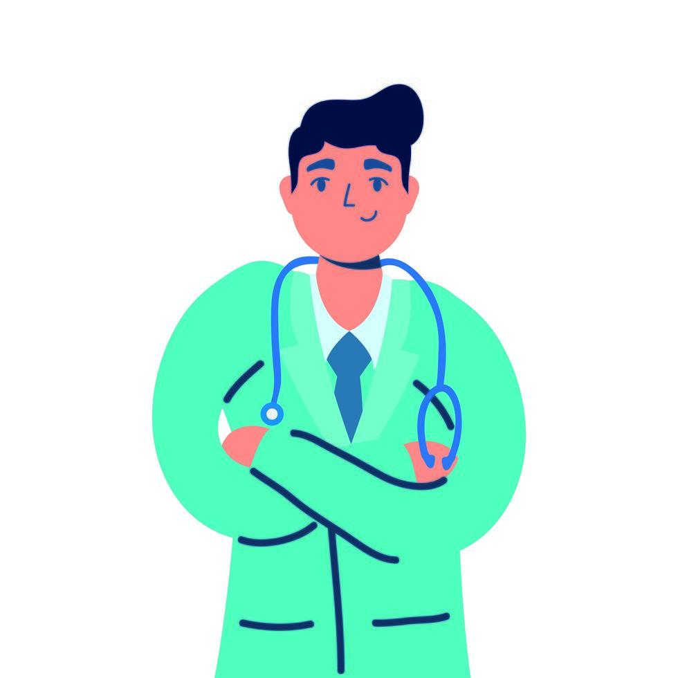 médecin professionnel avec caractère stéthoscope vecteur