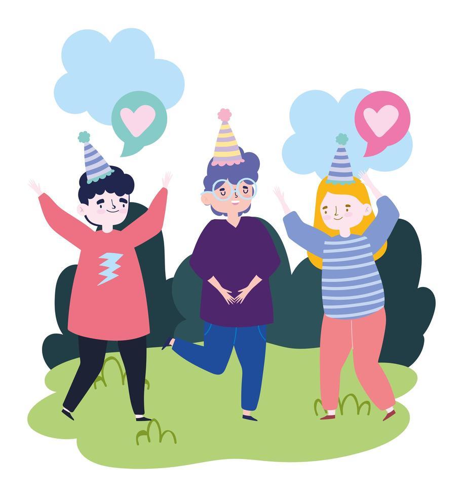 Groupe de personnes ensemble pour célébrer un événement spécial, hommes et femmes avec des chapeaux de fête dans le parc célébrant vecteur