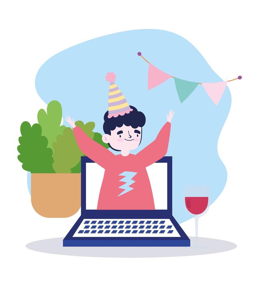 fête en ligne, rencontre entre amis, homme sur ordinateur portable vidéo célébrant avec un verre de vin vecteur