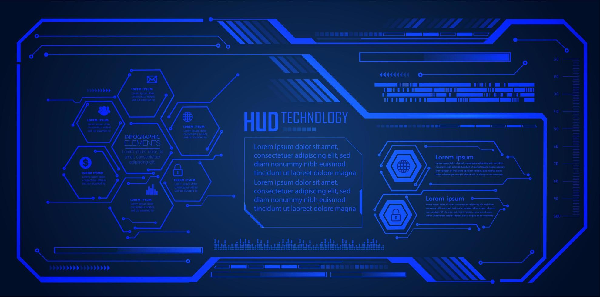 fond hologramme bleu futur et technologie vecteur