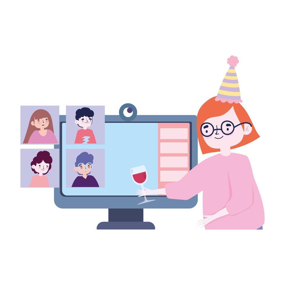 fête en ligne, rencontre d'amis, femme avec groupe informatique de vin en verre célébrant l'événement vecteur