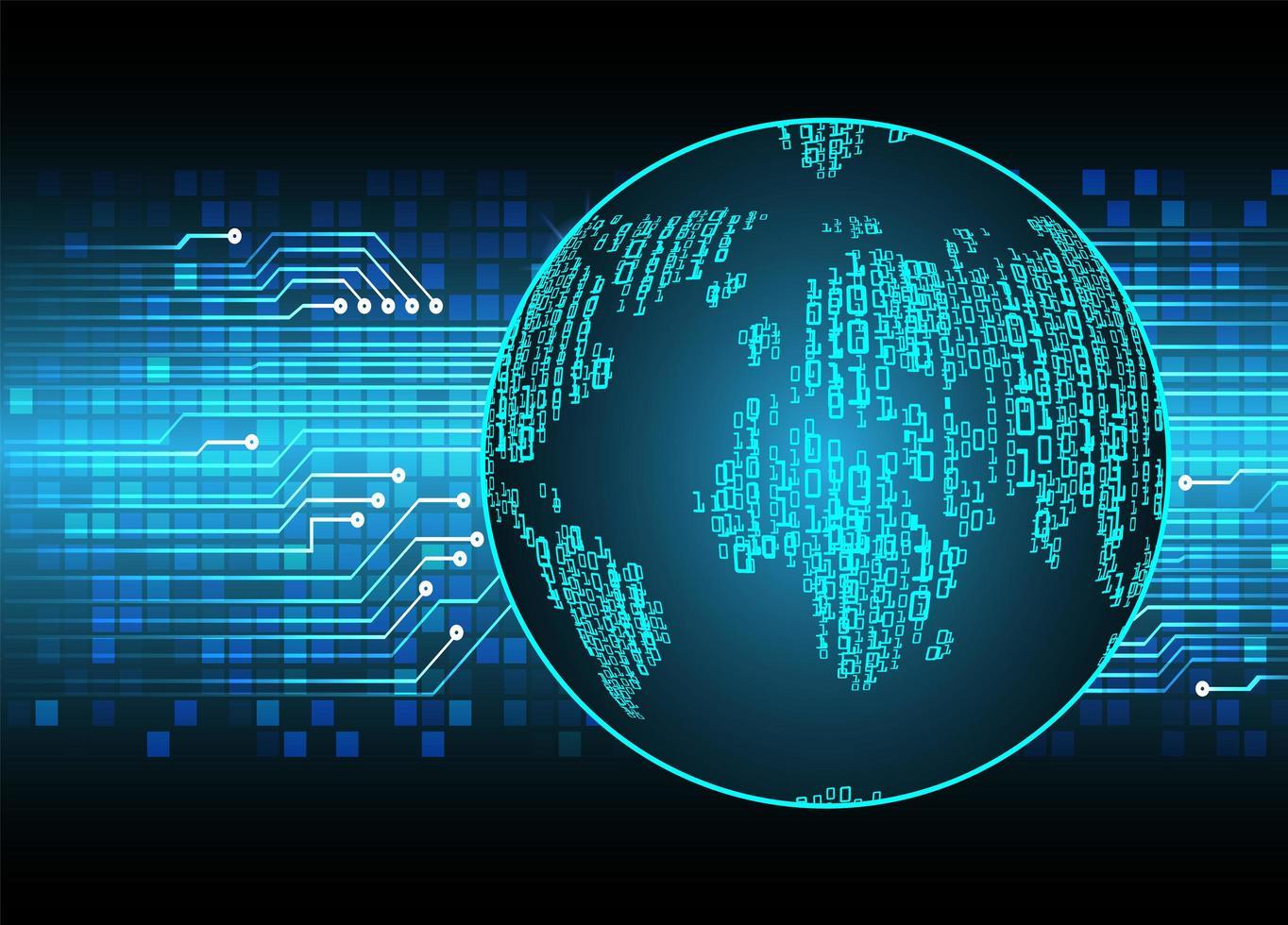 fond d'hologramme bleu futur et technologie avec carte du monde vecteur