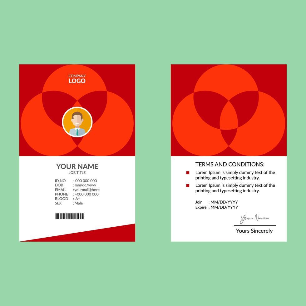modèle de conception de carte d'identité élégante rouge vecteur