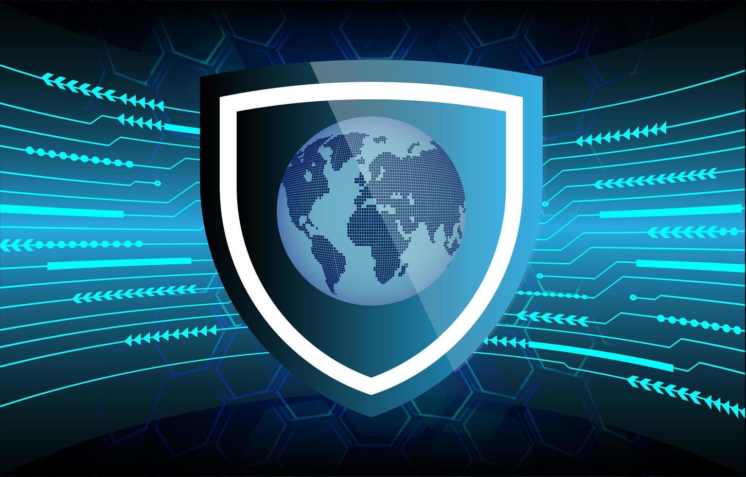 fond de sécurité bleu futur et technologie avec carte du monde vecteur