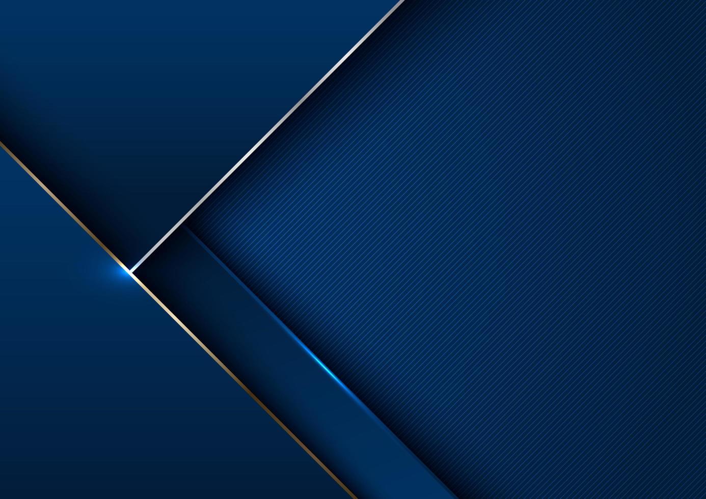 modèle élégant abstrait bleu géométrique avec or métallique vecteur