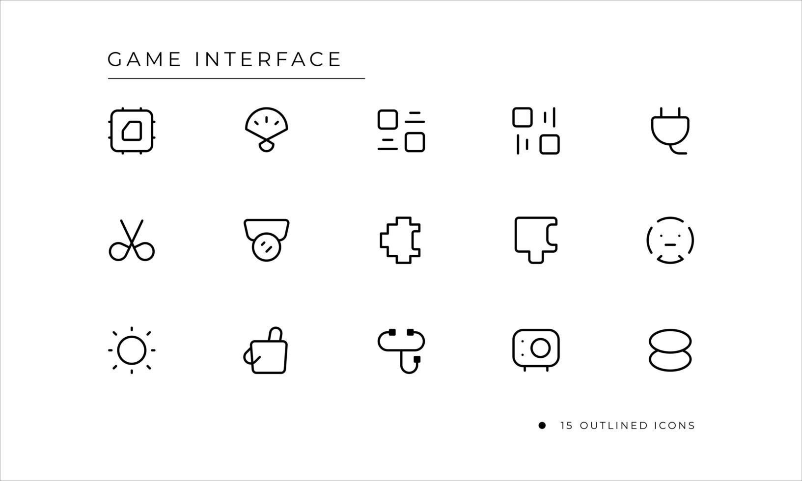icône d & # 39; interface de jeu avec style décrit vecteur