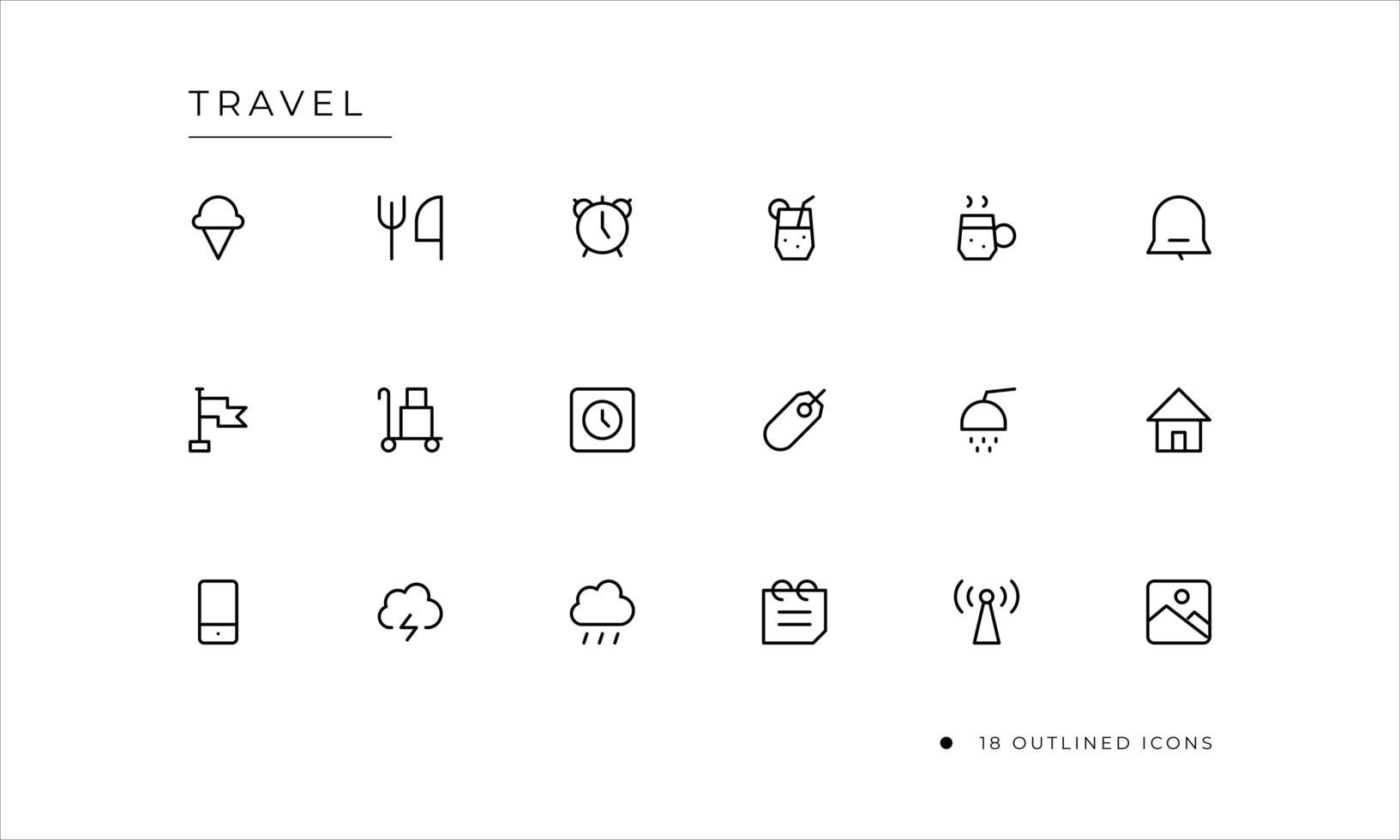 icône de voyage sertie de style décrit vecteur