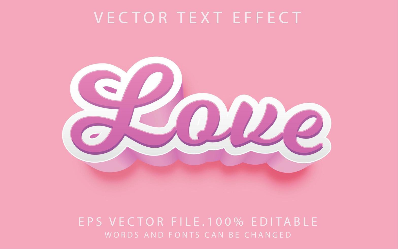 effet de texte amour vecteur