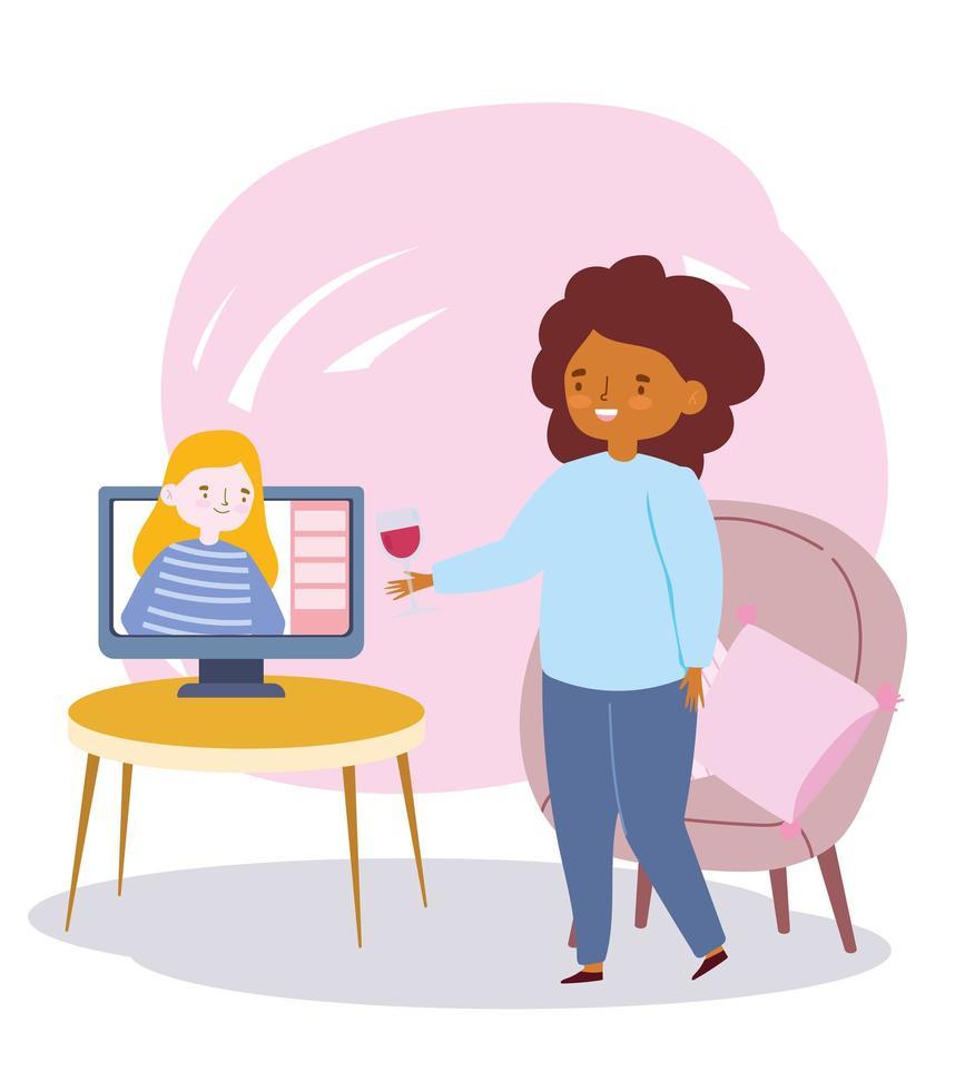 fête en ligne, rencontre d'amis, personnes restant en contact les unes avec les autres par Internet vecteur